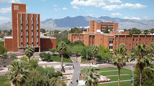 The Administration (left) and Modern Languages (right) buildings on the campus of the University of Arizona.