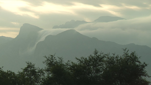 Clouds build up over the Catalina Mountains.