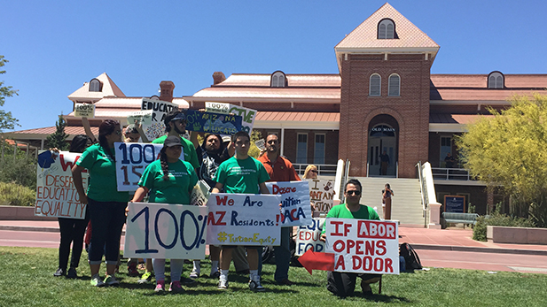 'Dreamers' demonstrate on UA campus for in-state tuition, April 29, 2015.