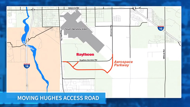 Hughes Access Road moving map