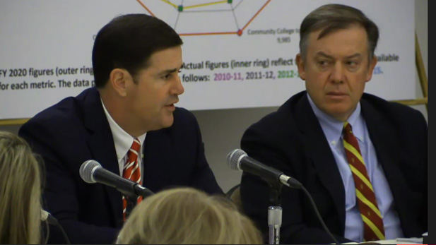Governor Doug Ducey (left) and ASU President Michael Crow at the Arizona Board of Regents