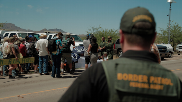 Protesters at the Arivaca Border Patrol checkpoint, May 27, 2015.