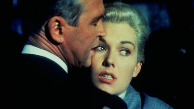 "James Stewart and Kim Novak share in the paranoid thrills of ""Vertigo"" (1958)."