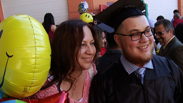 David Forster and his mom celebrate his graduation.