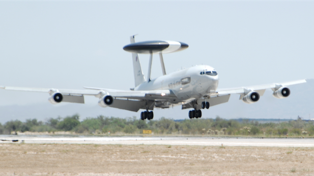 First NATO E-3A AWACs surveillance jet to go into storage at Davis-Monthan Air Force Base arrives June 23, 2015.
