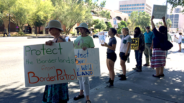 Protesters outside U.S. Sen. John McCain's office in downtown Tucson.