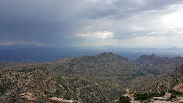 A monsoon storm forms over East Tucson.