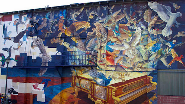 'Sound of Flight,' on a business building in downtown Flagstaff, is described as the largest mural in Arizona.