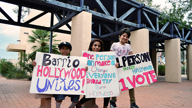 Protesters in favor of residential voting rights within the Barrio Hollywood Neighborhood Association.