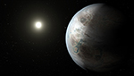 """This artist's concept depicts one possible appearance of the planet Kepler-452b, the first near-Earth-size world to be found in the habitable zone of star that is similar to our sun. The habitable zone is a region around a star where temperatures are right for water -- an essential ingredient for life as we know it -- to pool on the surface. Scientists do not know if Kepler-452b can support life or not. What is known about the planet is that it is about 60 percent larger than Earth, placing it in a class of planets dubbed """"super-Earths."""""""