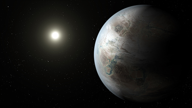 "This artist's concept depicts one possible appearance of the planet Kepler-452b, the first near-Earth-size world to be found in the habitable zone of star that is similar to our sun. The habitable zone is a region around a star where temperatures are right for water -- an essential ingredient for life as we know it -- to pool on the surface. Scientists do not know if Kepler-452b can support life or not. What is known about the planet is that it is about 60 percent larger than Earth, placing it in a class of planets dubbed ""super-Earths."""