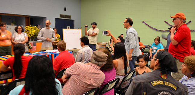 A contentious meeting of the Barrio Hollywood Neighborhood Association. July 2015.