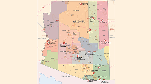 A map of rural hospitals in Arizona, including the Cochise Regional Hospital.
