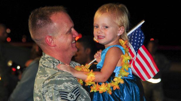 DM deployment return, little girl spotlight