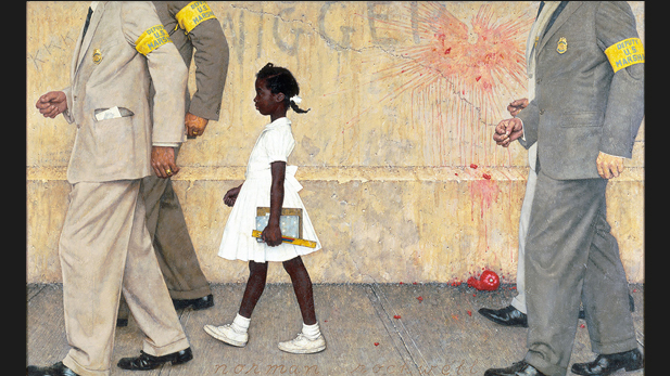 "Norman Rockwell's painting ""The Problem We All Live With"" depicting Ruby Bridges – the first black child to attend an all white elementary school in the South. Image from the website of the Norman Rockwell Museum."