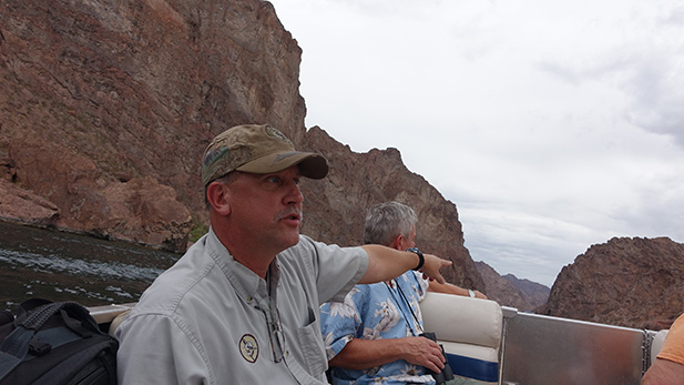 Mocarski instructs participants on how to spot bighorn sheep.