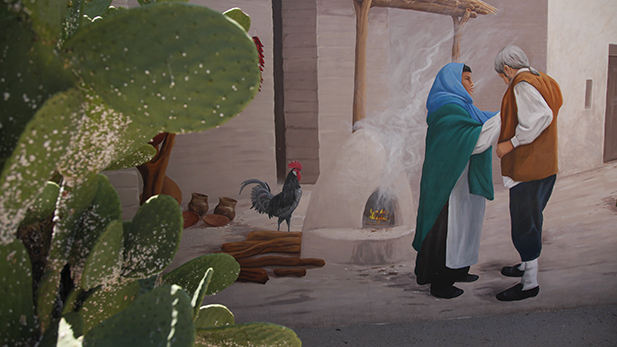 A mural at Presdio San Agustín del Tucson depicts life in the late 1700s.
