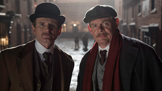 Charles Edwards as Alfred Wood and Martin Clunes as Sir Arthur Conan Doyle
