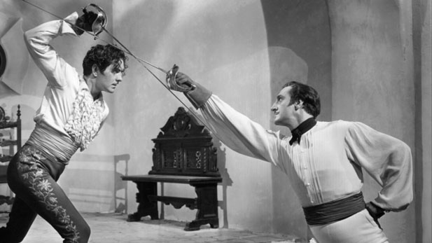 "Tyrone Power and Basil Rathbone star in the second version of ""The Mark of Zorro"" (1940)"