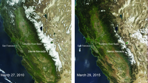 Five years' difference shown in satellite images of California's snowpack.