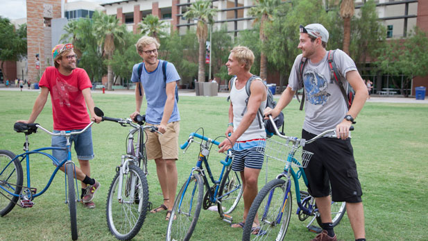 German students David Sipple, Milan Daus, Stefan Zins and Davis Rösch have been riding bicycles all around Tucson during their visit.