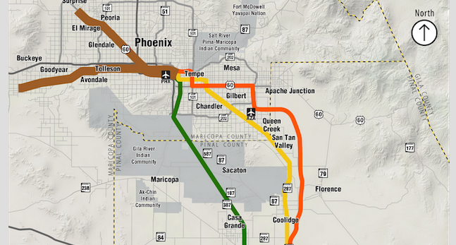 Three proposed passenger rail alternative routes diverge near Eloy going north toward Phoenix metro area. The green route was eliminated from the final analysis.