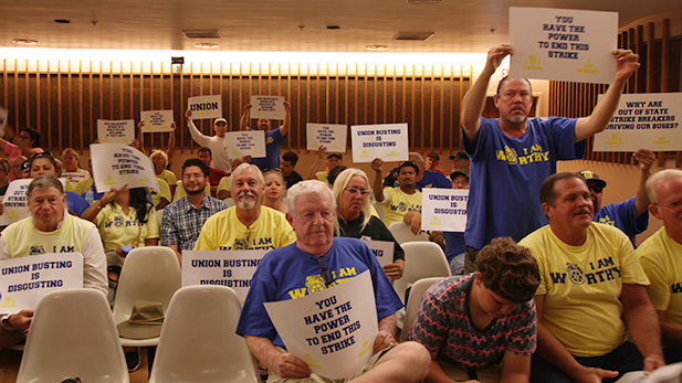 Sun Tran workers on strike attended the Tucson City Council meeting on Wednesday, Sept. 9, 2016.