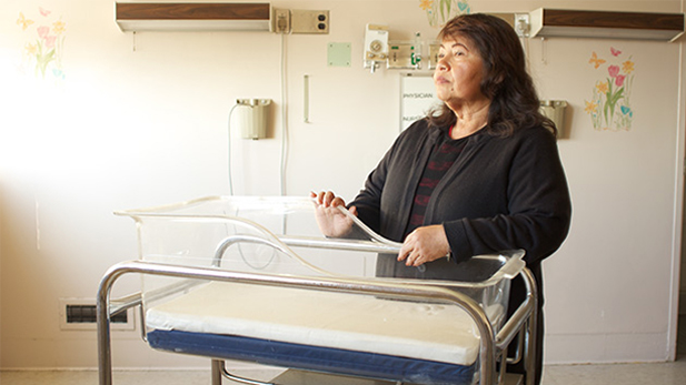 Maria Figueroa returns to the maternity ward at Los Angeles county hospital.