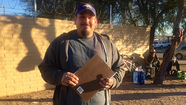 "Al Pesqueira led a team of volunteers to count homeless people in South Tucson. ""The homeless see that they do count, that they matter to these volunteers and to the different agencies in Pima County,"" he said."
