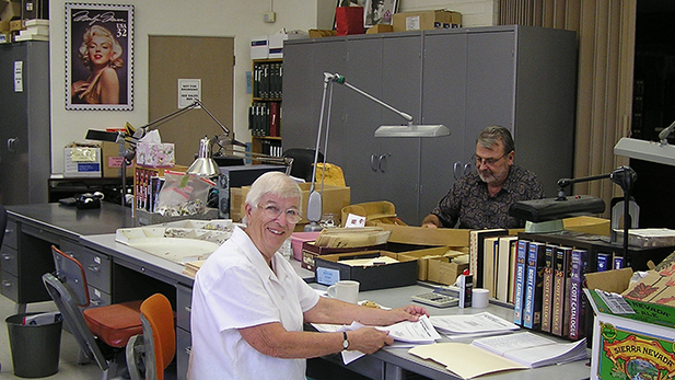 Volunteers at the Postal History Foundation.