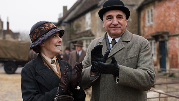 Phyllis Logan as Mrs. Hughes and Jim Carter as Mr. Carson
