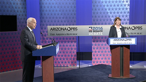U.S. Senate candidates Republican John McCain and Democrat Ann Kirkpatrick participate in a debate on Oct. 10, 2016.