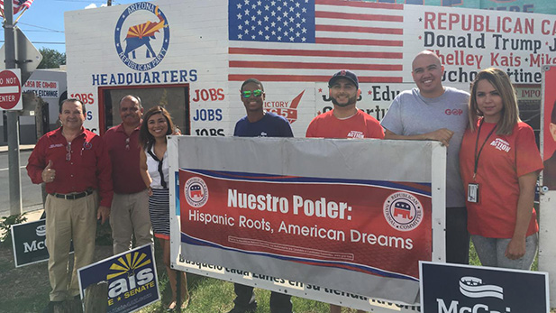 Republican staff and volunteers outside of the new Nogales campaign office, October 2016.
