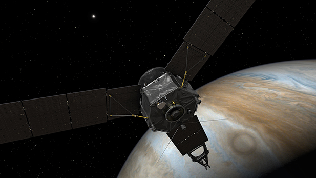 Artist's rendering depicting the Juno spacecraft at Jupiter.