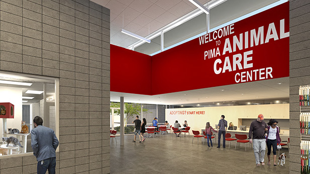 An artist's rendering of the adoptions lobby of a Pima Animal Care Center facility now under construction.