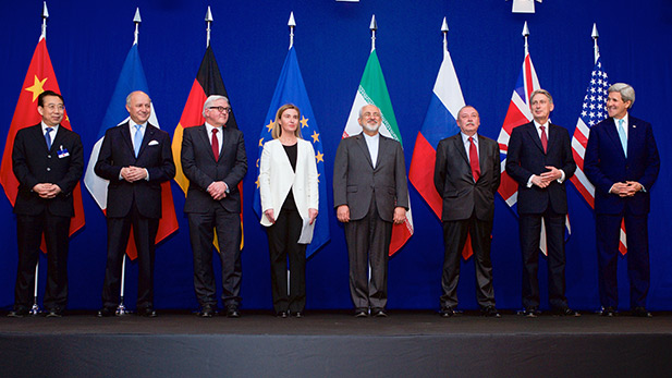 The ministers of foreign affairs of France, Germany, the European Union, Iran, the United Kingdom and the United States as well as Chinese and Russian diplomats announcing the framework for a Comprehensive agreement on the Iranian nuclear program.