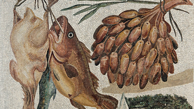 A mosaic depiction of food in ancient Rome.