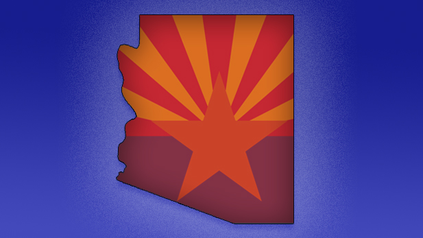Arizona Flag State outline stock