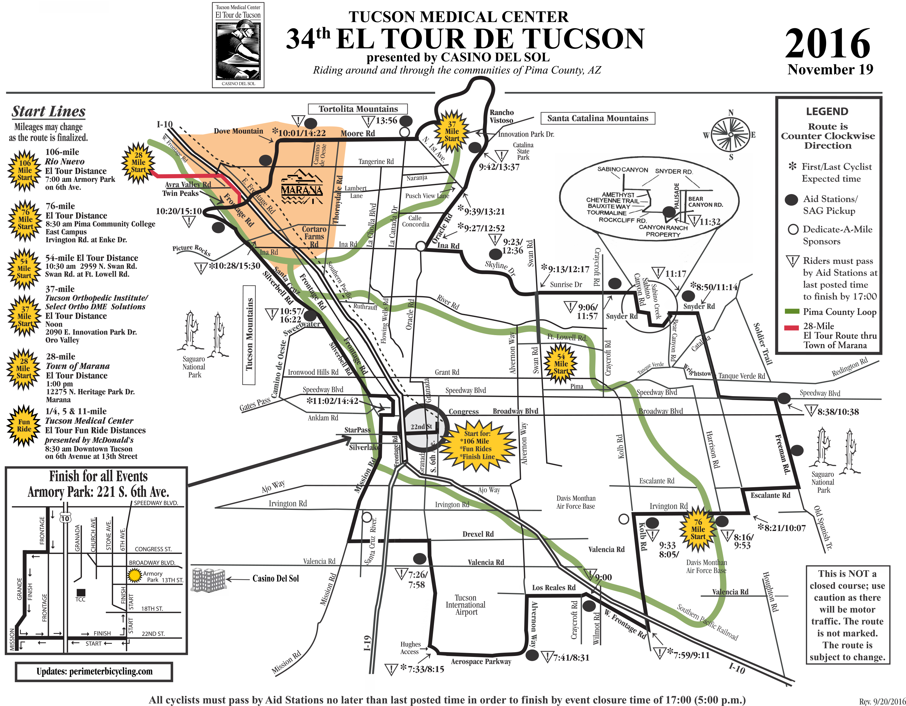 2016 El Tour Map