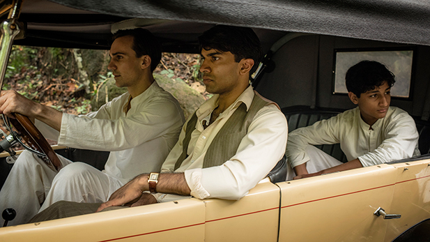 Shown from left to right: Henry Lloyd-Hughes as Ralph Whelan, Nikesh Patel as Aafrin Dalal and Dillon Mitra as Adam