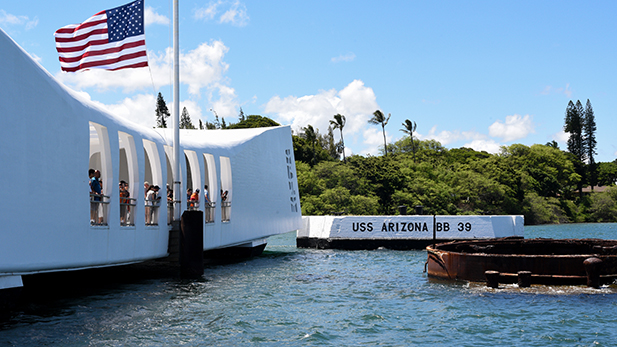 Exterior shot of the USS Arizona memorial