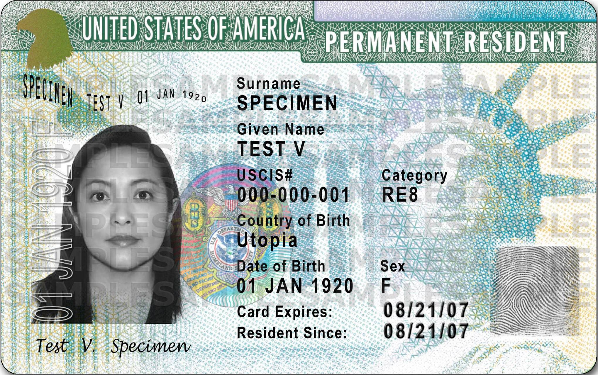 A sample of a U.S. permanent resident card.