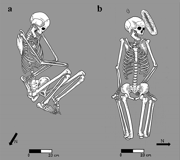Examples of typical body placement from Early Agricultural Period (2100 BC - 50 AD) sites in the Sonoran Desert: a) flexed position, on its side, with arms folded over, and b) flexed supine position, hands under feet, with household object.