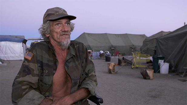 A veteran at Camp Bravo, where homeless vets are sheltered, nourished and protected.