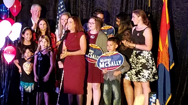 U.S. Rep. Martha McSally celebrates her re-election Nov. 8, 2016.