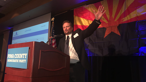 Superintendent Dustin Williams speaks on Election Night, 2016.