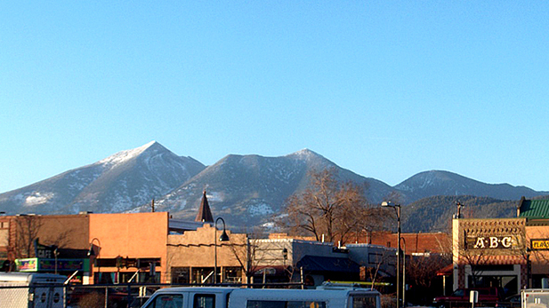 A view from downtown Flagstaff, Arizona.