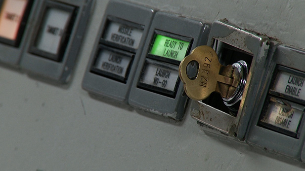 A close up of a key in the launch panel at the Titan II Missile Museum.