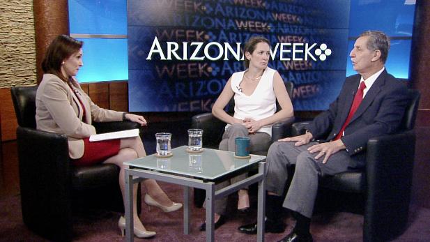 Producer/host Lorraine Rivera interviews political scientist Samara Klar and retired journalist Frank Sotomayor.