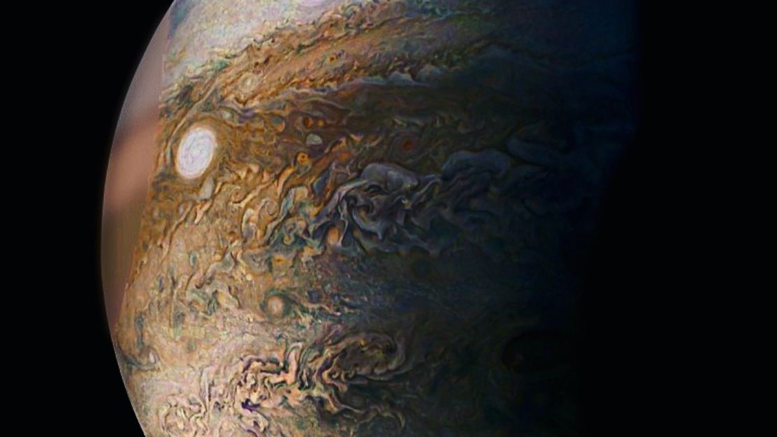 The camera aboard NASA's Juno mission caught this picture of a 'white storm' at Jupiter in December 2016.